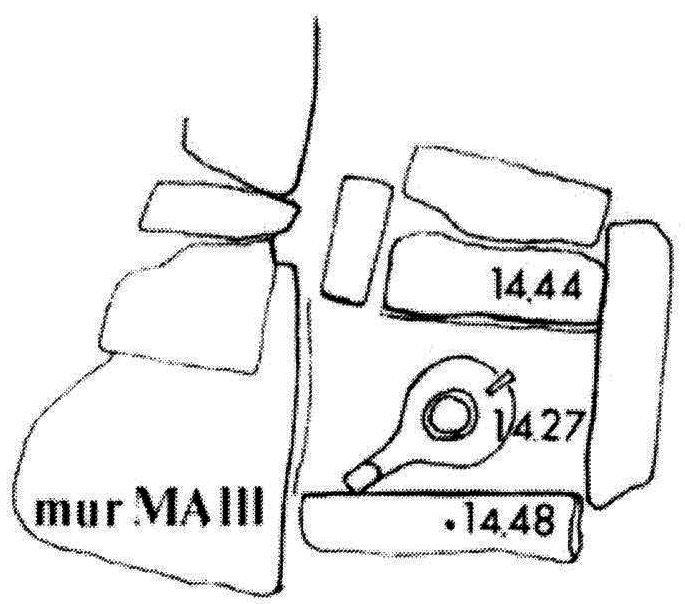 Εικ. 4. Κάτοψη του προανακτορικού αποθέτη θεμελίωσης στο ανάκτορο των Μαλίων (Pelon 1986, εικ. 5).