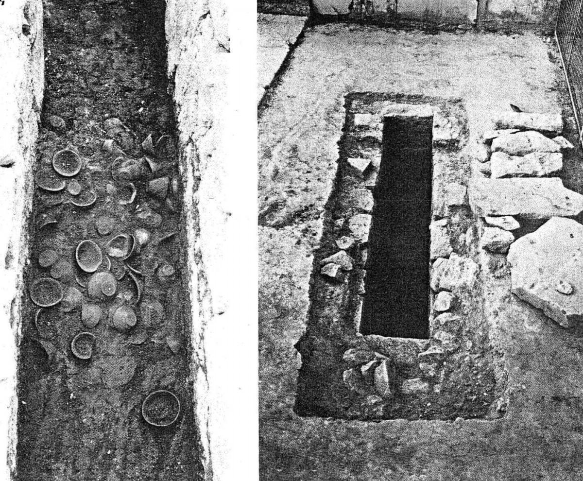 Εικ. 5. O YM IB αποθέτης θεμελίωσης στο Δωμάτιο 50 του ανακτόρου της Φαιστού (Boulotis 1982, πίν. 14:3, 4).