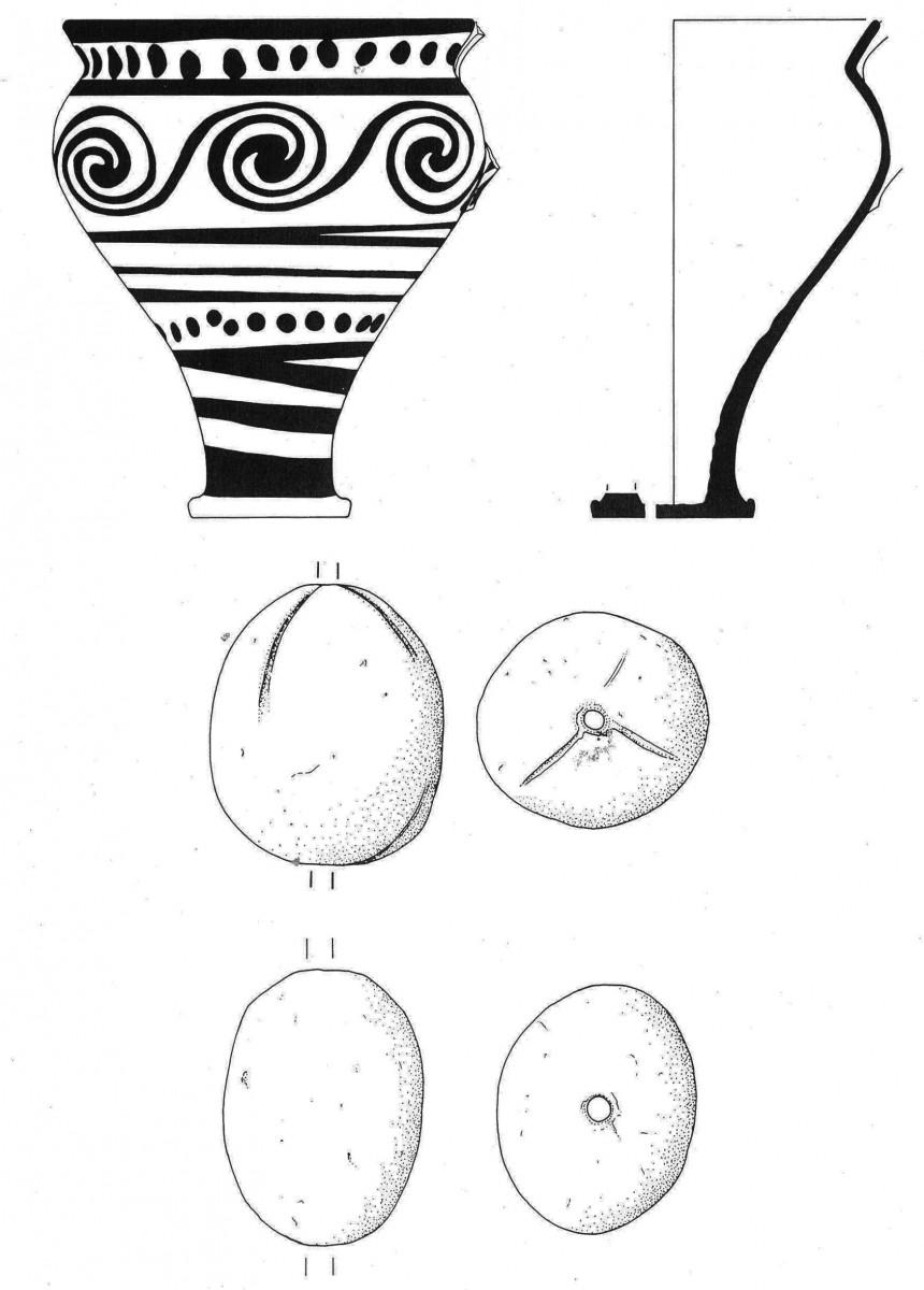Εικ. 6. Κύπελλο-ρυτό και υφαντικά βάρη από ΥΜ ΙΒ αποθέτη θεμελίωσης στο ανάκτορο της Κνωσού (Macdonald 1990, εικ. 8).
