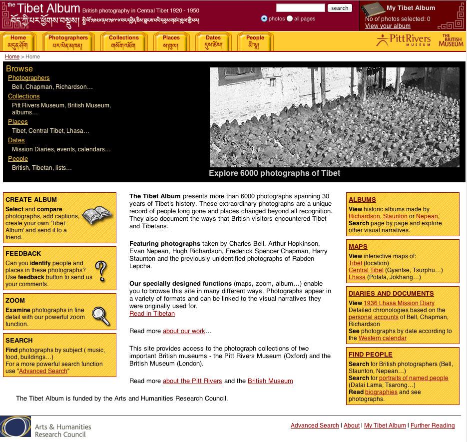 Εικ. 3. Ψηφιακές κοινότητες μνήμης μέσα από τη βάση φωτογραφιών «The Tibet Album» του Μουσείου Pitt Rivers στην Οξφόρδη.