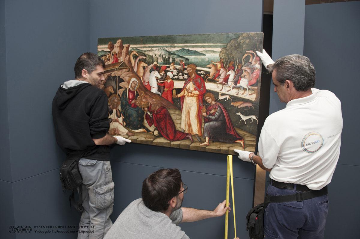 Από την προετοιμασία της έκθεσης «Ο Δομήνικος Θεοτοκόπουλος πριν από τον El Greco» που θα παρουσιαστεί στο Βυζαντινό και Χριστιανικό Μουσείο (φωτ. Βυζαντινό και Χριστιανικό Μουσείο).