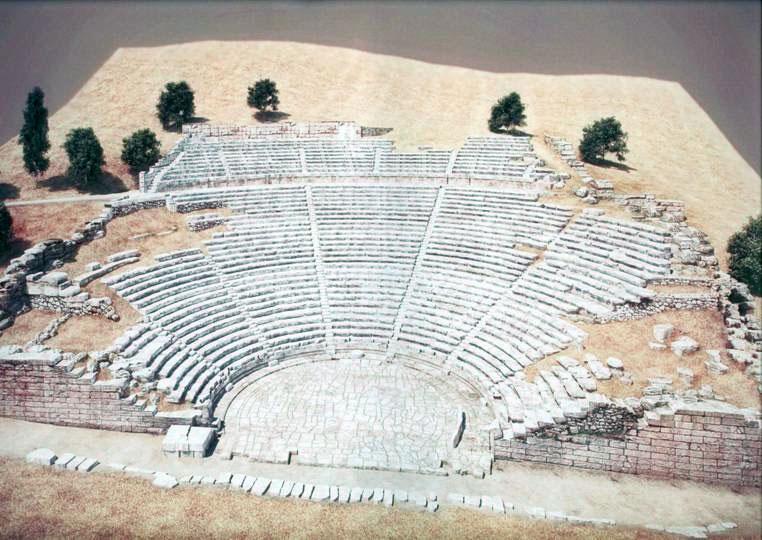 Φωτορεαλιστική εικόνα της αποκατάστασης του αρχαίου θεάτρου των Δελφών (φωτ. Διάζωμα).