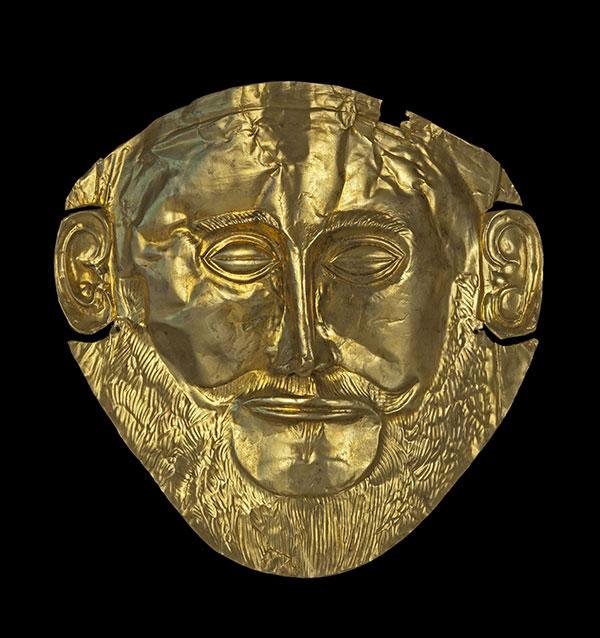 Aντίγραφο χρυσής νεκρικής μάσκας «Αγαμέμνονα» από τον Ταφικό Κύκλο Α των Μυκηνών, 16ος αι. π.Χ. Αρχαιολογικό Μουσείο Μυκηνών (το πρωτότυπο εκτίθεται στο Εθνικό Αρχαιολογικό Μουσείο).