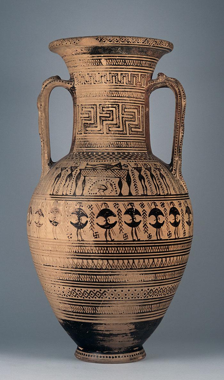Αττικός γεωμετρικός αμφορέας του «Ζωγράφου του Hirschfeld». Εθνικό Αρχαιολογικό Μουσείο, Αθήνα.