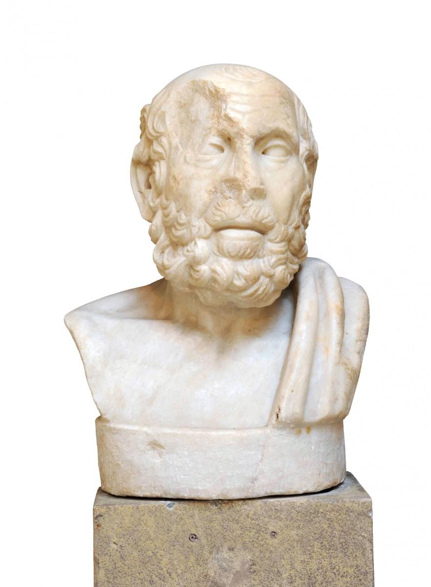 Μαρμάρινη προτομή του Ιπποκράτη. Βρέθηκε σε τάφο ιατρού στην Ostia. 100-150 μ.Χ., Αρχαιολογικό Μουσείο Ostia. © Soprintendenza  Speciale per i Beni Archeologici di Roma, Ostia (φωτογρ. αρχείο)