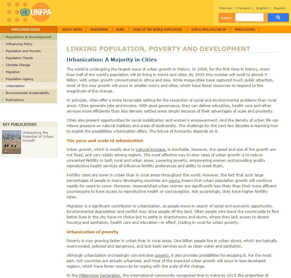 Εικ. 4. Ταμείο Δημογραφίας των Ηνωμένων Εθνών, αναφορά στο φαινόμενο της αστικοποίησης (http://www.unfpa.org/pds/urbanization.htm]).