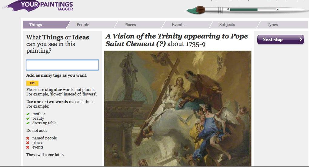 Εικ. 7. 'Your Paintings' Tagger. Εφαρμογή στον ιστότοπο του 'Your Paintings' (http://www.bbc.co.uk/arts/yourpaintings/) η οποία δίνει τη δυνατότητα στο κοινό να συμμετέχει στην τεκμηρίωση της εθνικής συλλογής ελαιογραφιών της Βρετανίας.