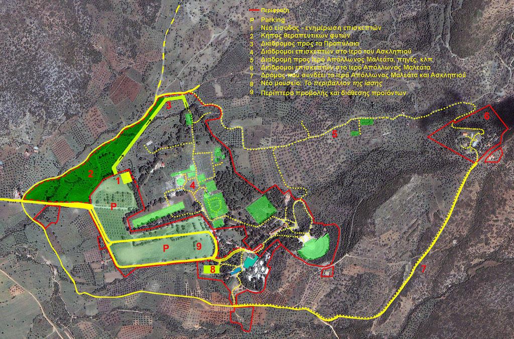 Χάρτης των επεμβάσεων στο Ασκληπιείο της Επιδαύρου (φωτ. ΥΠΕΚΑ).