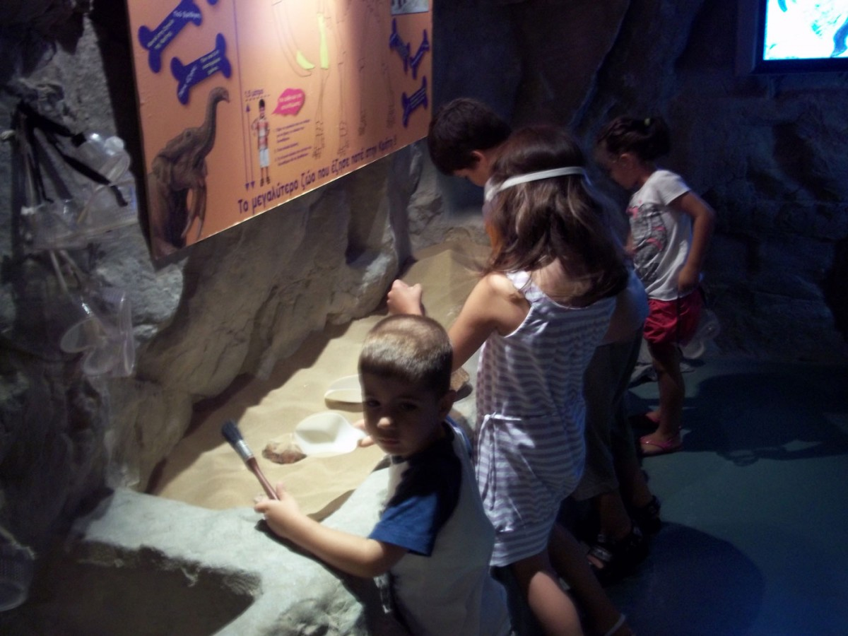 Εικ. 7. Μουσείο Φυσικής Ιστορίας Κρήτης, παιδική πτέρυγα «Ερευνότοπος». Η ανασκαφή των οστών του δεινοθήριου είναι μια δραστηριότητα που μπορεί να λειτουργήσει συντροφικά (Φωτογραφικό Αρχείο Δ. Καλεσοπούλου).