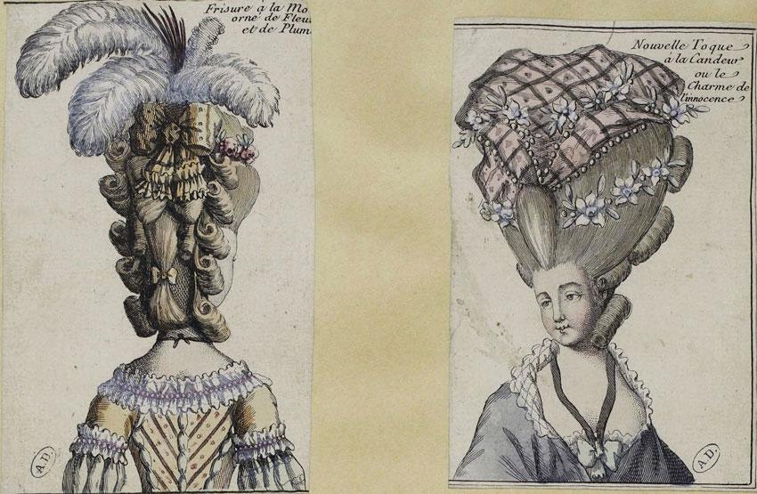 Δύο γυναικείες κομμώσεις σε γαλλικά φιγουρίνια, 1778. Συλλογή Maciet.