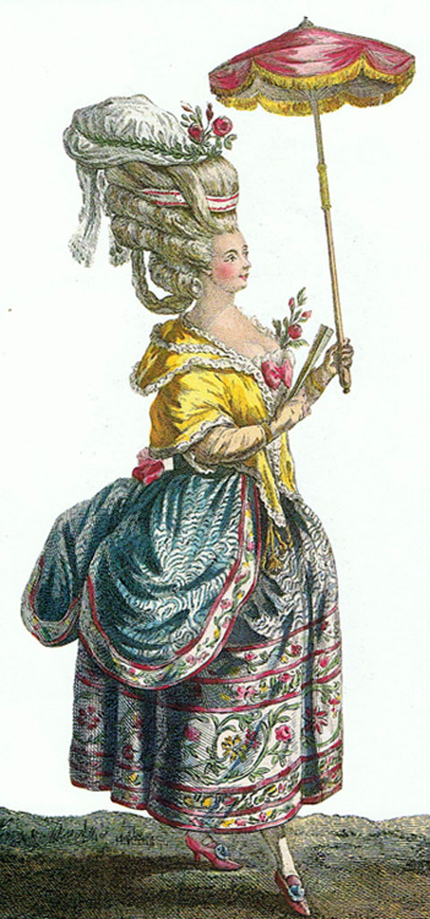 Γυναικεία γαλλική ενδυμασία και κόμμωση του 18ου αιώνα.