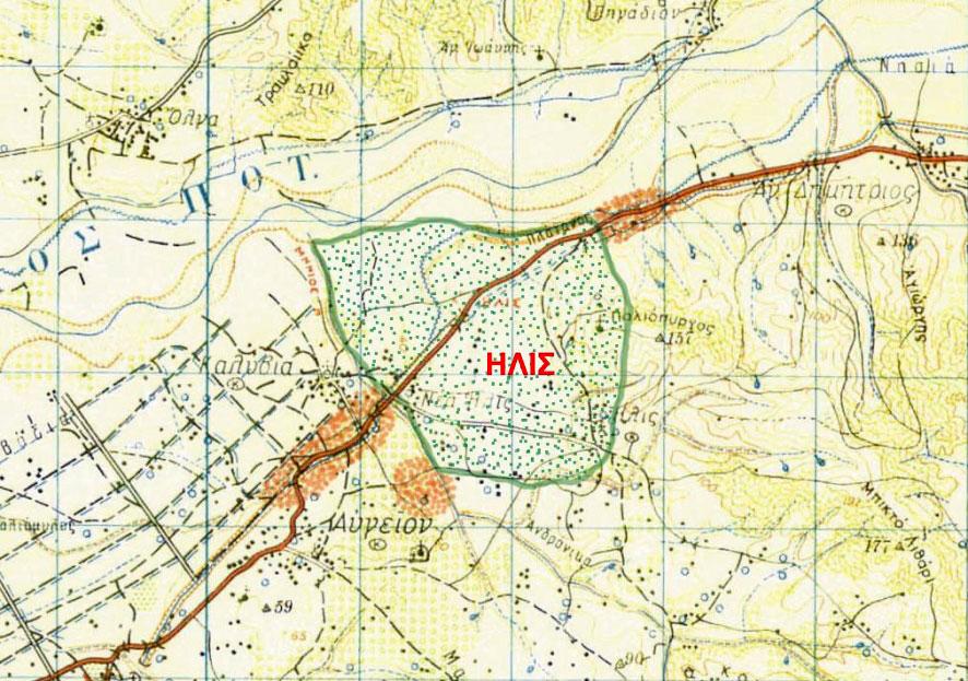 Εικ. 2. Η θέση και η έκταση της Ήλιδος στον τοπογραφικό χάρτη της περιοχής (πηγή: Ανδρέου/Ανδρέου-Ψυχογιού 2009, 70, εικ. 21).