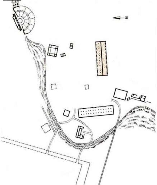 Εικ. 6. Tοπογραφικό σχέδιο της Αγοράς, Η. Μουτόπουλος 1978 (πηγή: Παπαχατζής 1979, 396-397, εικ. 360). Το τοπογραφικό έχει στηριχθεί στο σχέδιο του Fr. Tritsch (1932, 68, εικ. 77).