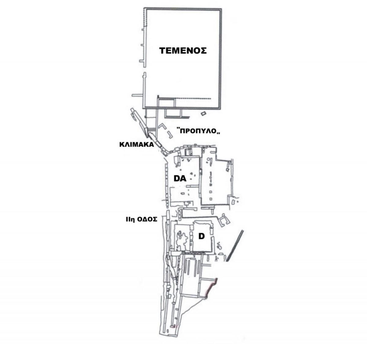 Εικ. 7. Τοπογραφικό των οικοδομημάτων στο ΝΔ άκρο του πλατώματος της Αγοράς (πηγή: Ανδρέου/Ανδρέου-Ψυχογιού 2009, 84, εικ. 73).
