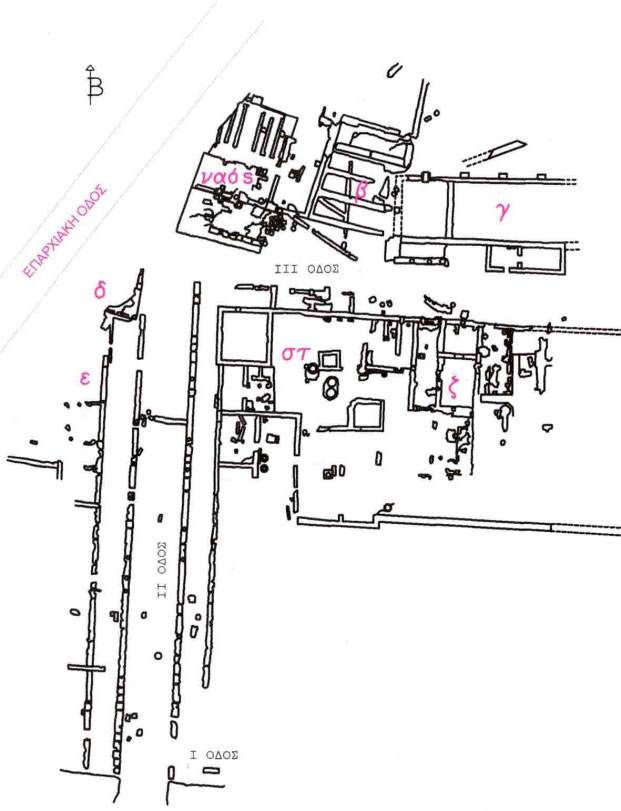 Εικ. 9. Κάτοψη τμήματος της κυρίως πόλης (πηγή: Ανδρέου/Ανδρέου-Ψυχογιού 2009, 89, εικ. 92).