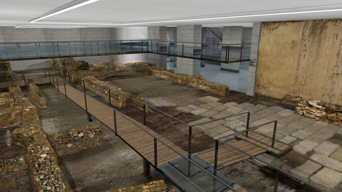 Η μελέτη ανάδειξης προβλέπει τη δημιουργία μεσοπατώματος που θα λειτουργεί ως «μπαλκόνι» θέασης προς τις αρχαιότητες (φωτ. ΑΠΕ-ΜΠΕ).