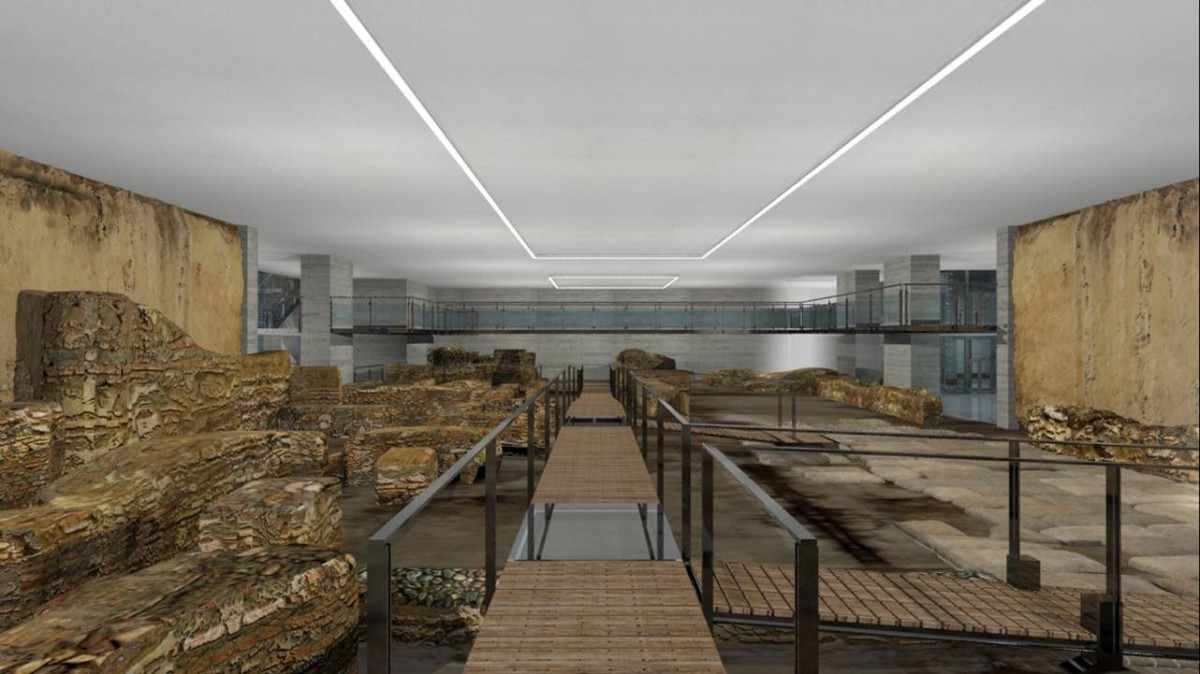 Στον υπό διαμόρφωση αρχαιολογικό χώρο στο -1 επίπεδο, ένας κατά μήκος διάδρομος, θα εξυπηρετεί τους επισκέπτες του μνημείου (φωτ. ΑΠΕ-ΜΠΕ).