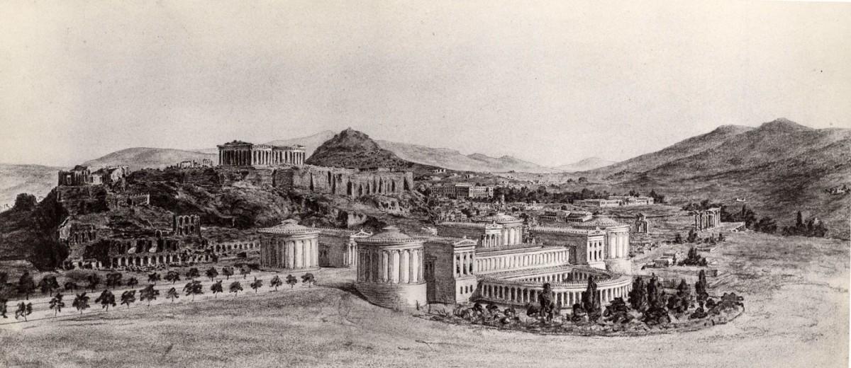Πρόταση για την ανέγερση μουσείου αρχαιοτήτων στην Αθήνα, 1888. Φωτογραφία χαμένου σχεδίου. Βιέννη, Ακαδημία Καλών Τεχνών, Συλλογή Γραφικών Τεχνών, Κατάλοιπα Χάνσεν. Αρ. ευρ. 6864.