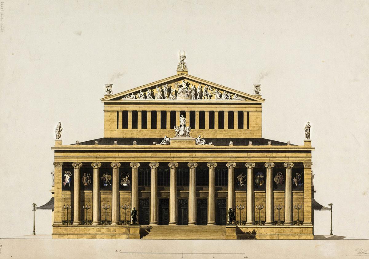 Κοπεγχάγη, Θέατρο, κύρια όψη, 1835. Υπογραφή: T.E. Hansen. Βιέννη, Ακαδημία Καλών Τεχνών, Συλλογή Γραφικών Τεχνών, Κατάλοιπα Χάνσεν. Αρ. ευρ. HZ 20881.