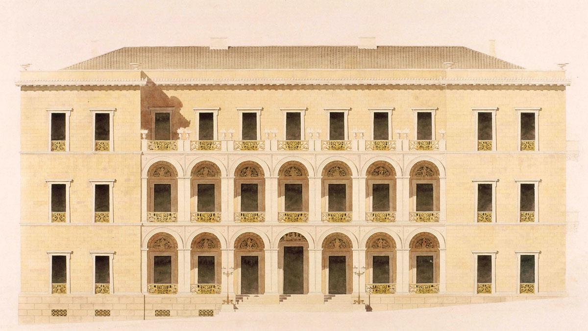 Οικία Αντωνίου Δημητρίου, κύρια όψη, 1842. Βιέννη, Ακαδημία Καλών Τεχνών, Συλλογή Γραφικών Τεχνών, Κατάλοιπα Χάνσεν. Αρ. ευρ. HZ 20905.