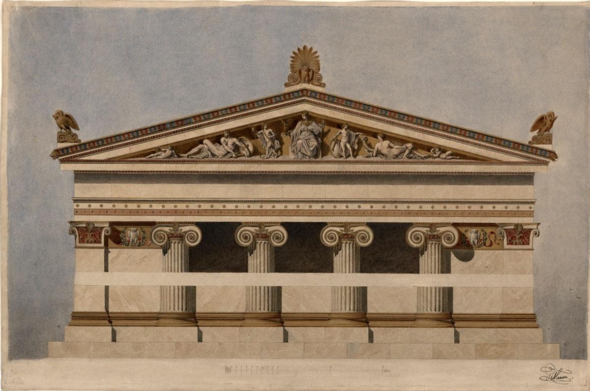 Ακαδημία των Επιστημών, τμήμα όψης πλάγιας πτέρυγας, 1860. Υπογραφή: T.E. Hansen. Βιέννη, Ακαδημία Καλών Τεχνών, Συλλογή Γραφικών Τεχνών, Κατάλοιπα Χάνσεν. Αρ. ευρ. HZ 20364.