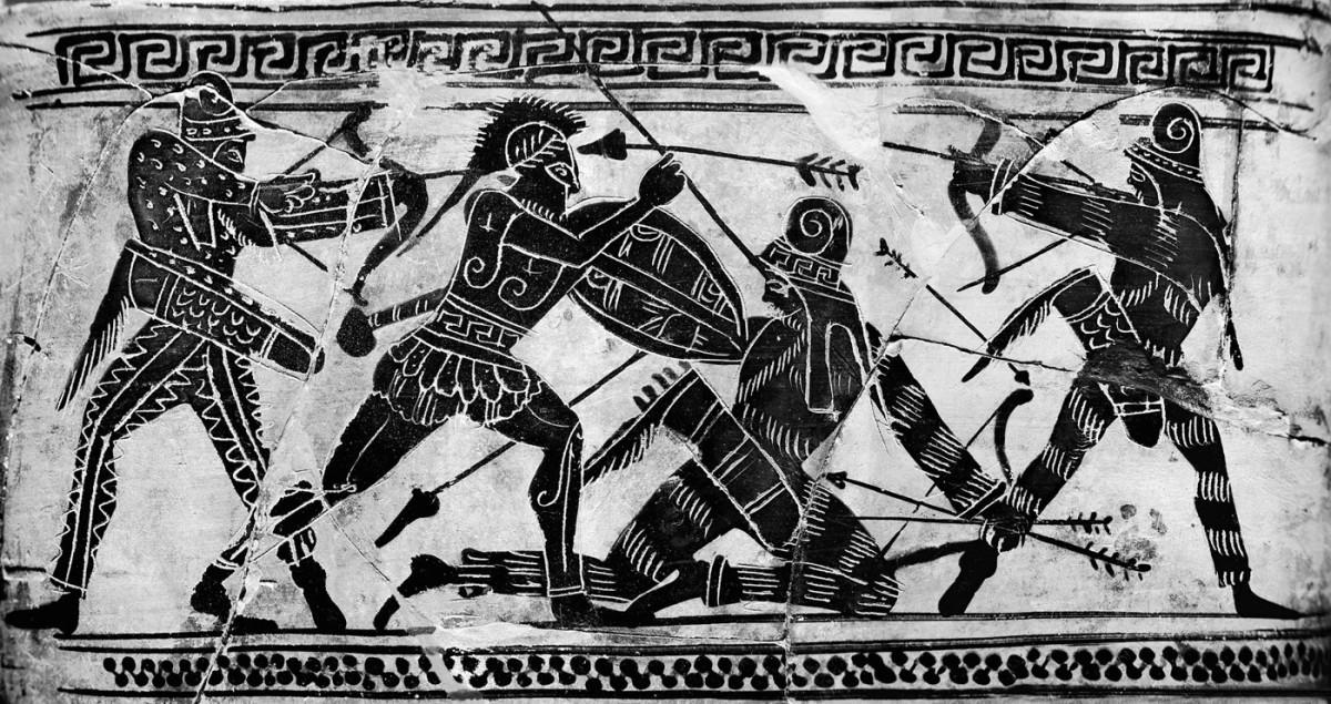 Σκηνή μάχης με Έλληνα οπλίτη και Πέρσες πολεμιστές. Λεπτομέρεια από αττική μελανόμορφη λήκυθο, 490 π.Χ. Εθνικό Αρχαιολογικό Μουσείο, Αθήνα.