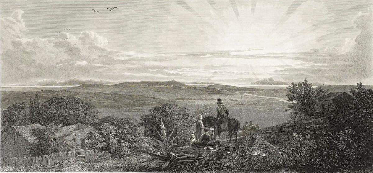 Εικ. 10. Άποψη του χώρου της αρχαίας πόλης από το χωριό της Παλαιόπολης. Αριστερά το χωριό Καλύβια. Th. Allason 1813. Χαρακτικό (πηγή: Stanhope 1824).