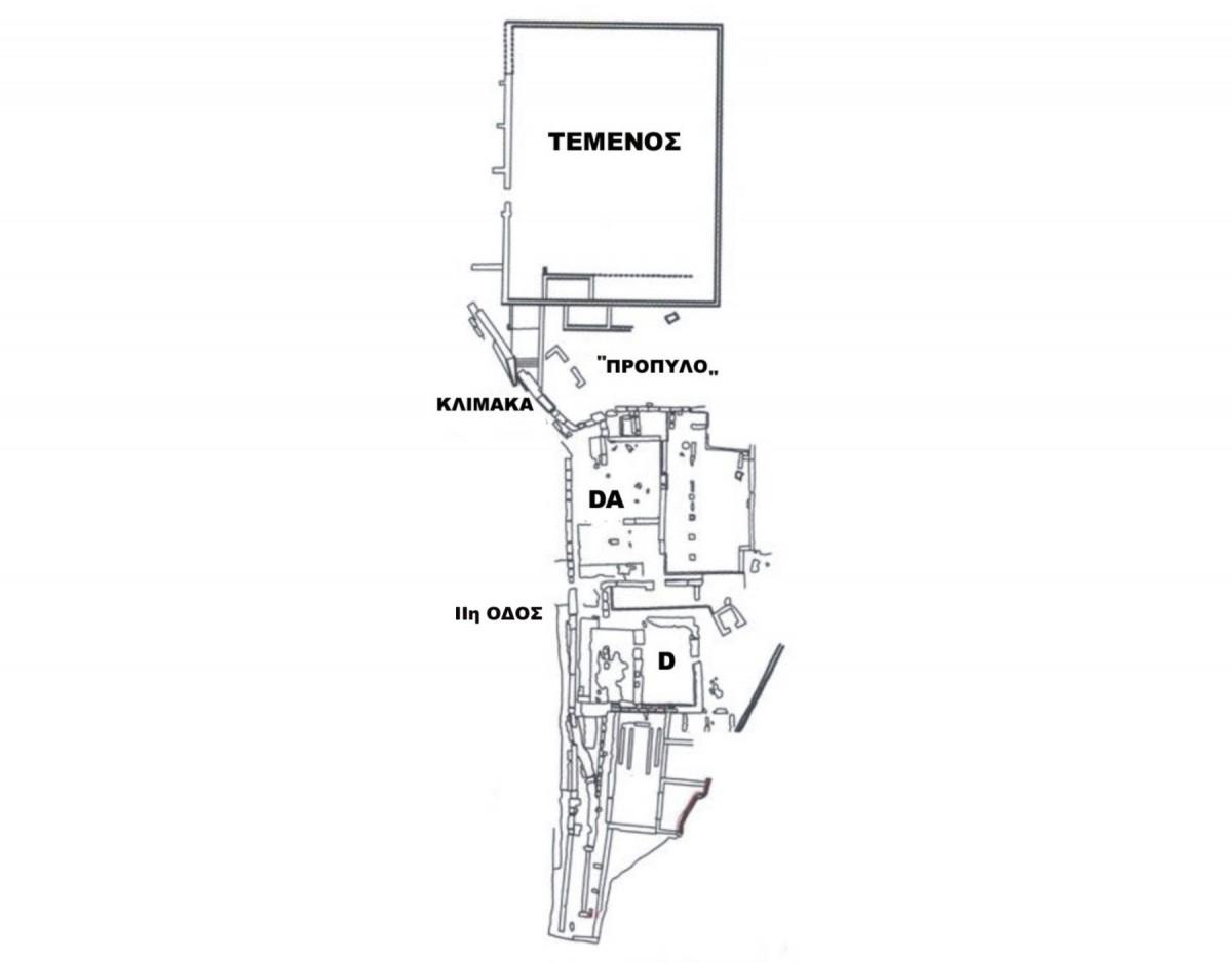 Εικ. 3. Τοπογραφικό των οικοδομημάτων στο νοτιοδυτικό άκρο του πλατώματος της Αγοράς (πηγή: Ανδρέου/Ανδρέου-Ψυχογιού 2009, 84, εικ. 73).