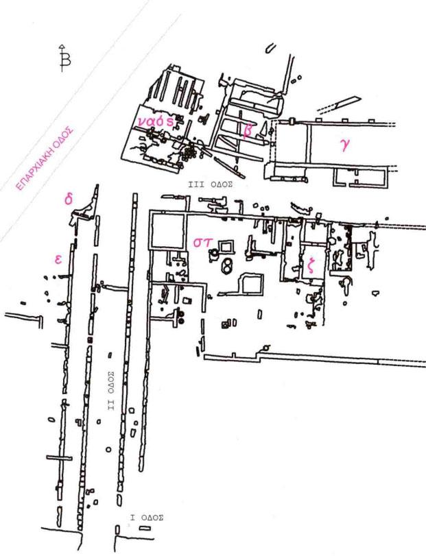 Εικ. 4. Κάτοψη τμήματος της κυρίως πόλης (πηγή: Ανδρέου/Ανδρέου-Ψυχογιού 2009, 89, εικ. 92).