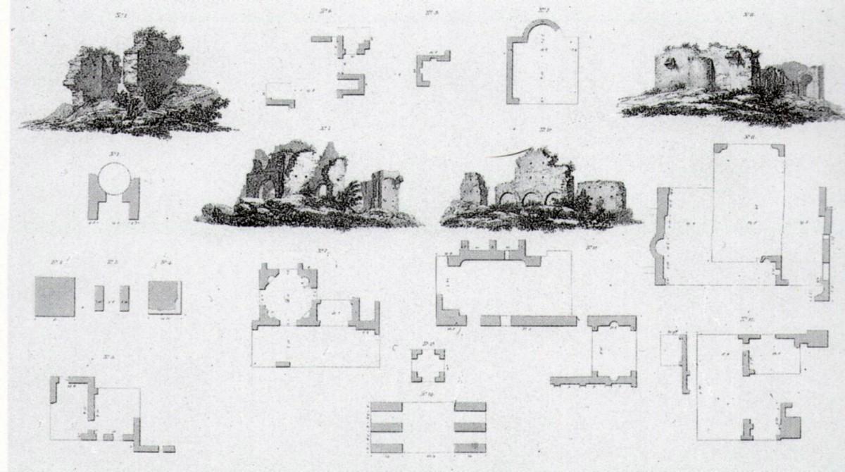 Εικ. 1.  Σχέδια και κατόψεις κάποιων από τα ορατά ρωμαϊκά ερείπια της Ήλιδος (Stanhope 1824).