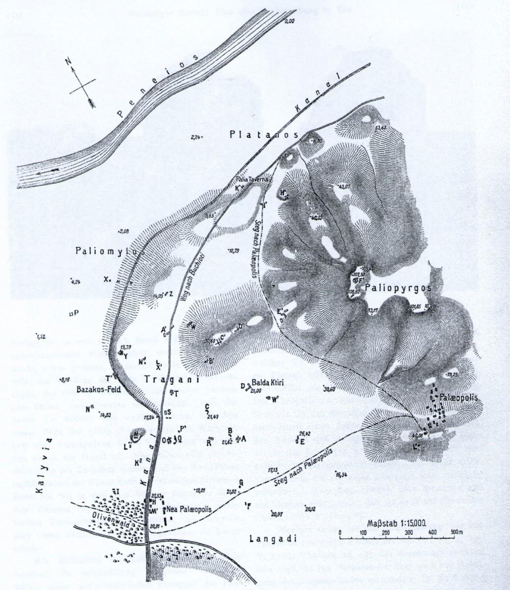 Εικ. 2. Τοπογραφικό του χώρου της Ήλιδος, με σημειωμένες τις ανασκαφικές τομές του Α.Α.Ι., Α. Ορλάνδος 1910 (πηγή: Keil-Premerstein 1911, 99-100, εικ. 54).
