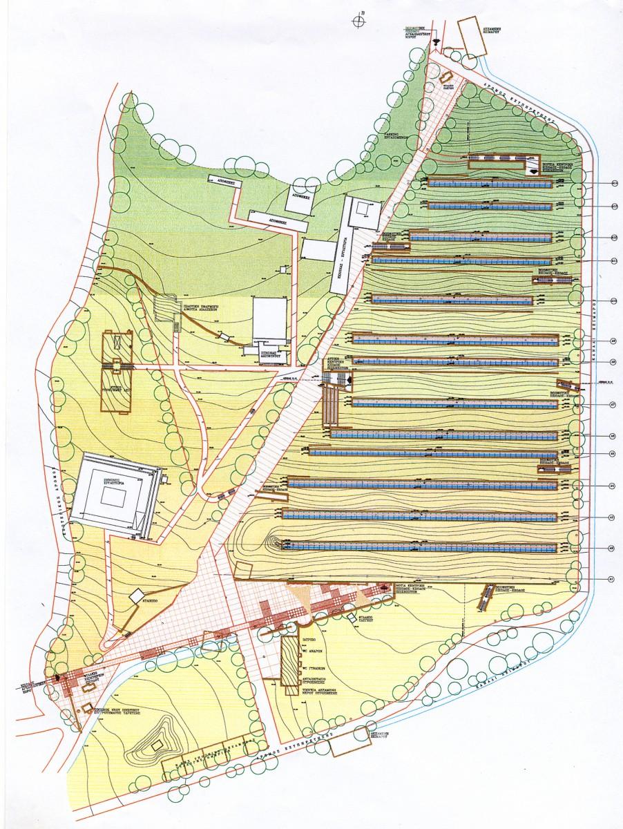 Εικ. 8. Η γενική διαμόρφωση του περιβάλλοντος χώρου στο Ακρωτήρι Θήρας. Ο νεολιθικός οικισμός εκτιμάται ότι βρισκόταν ανάμεσα στη ΝΔ γωνία του στεγάστρου και το σημερινό εκδοτήριο εισιτηρίων του αρχαιολογικού χώρου.