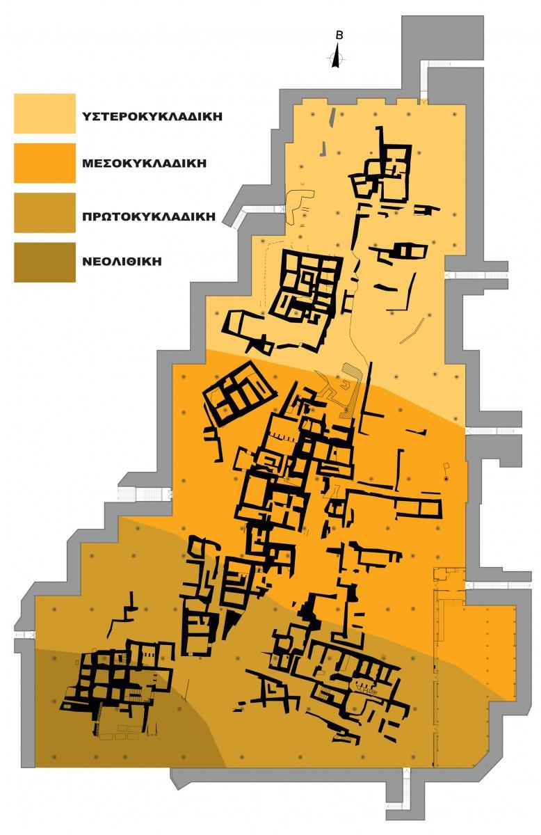 Εικ. 12. Γενικό τοπογραφικό του Ακρωτηρίου Θήρας με χρωματική δήλωση των σταδίων ανάπτυξης του προϊστορικού οικισμού.