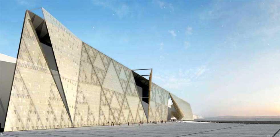 Ψηφιακή αναπαράσταση της πρόσοψης του Grand Egyptian Museum στο Κάιρο.