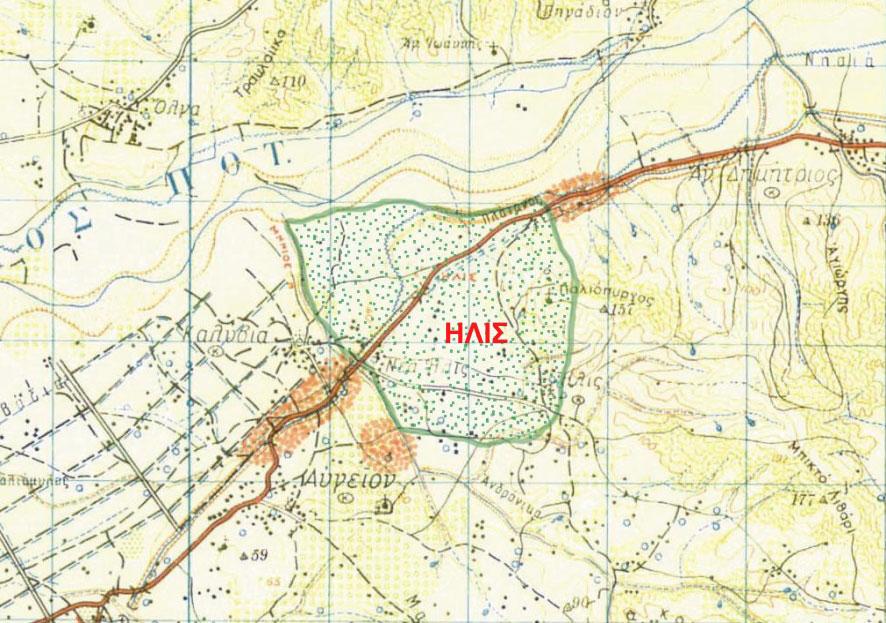 Εικ. 1. Η θέση και η έκταση της αρχαίας πόλης της Ήλιδος στον τοπογραφικό χάρτη της περιοχής (πηγή: Ανδρέου/Ανδρέου-Ψυχογιού 2009, 70, εικ. 21).