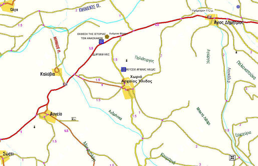 Εικ. 6. Χάρτης της ευρύτερης περιοχής του αρχαιολογικού χώρου με σημειωμένες τις οδούς πρόσβασης σε αυτόν και το Μουσείο Ήλιδος και τις χιλιομετρικές τους αποστάσεις.