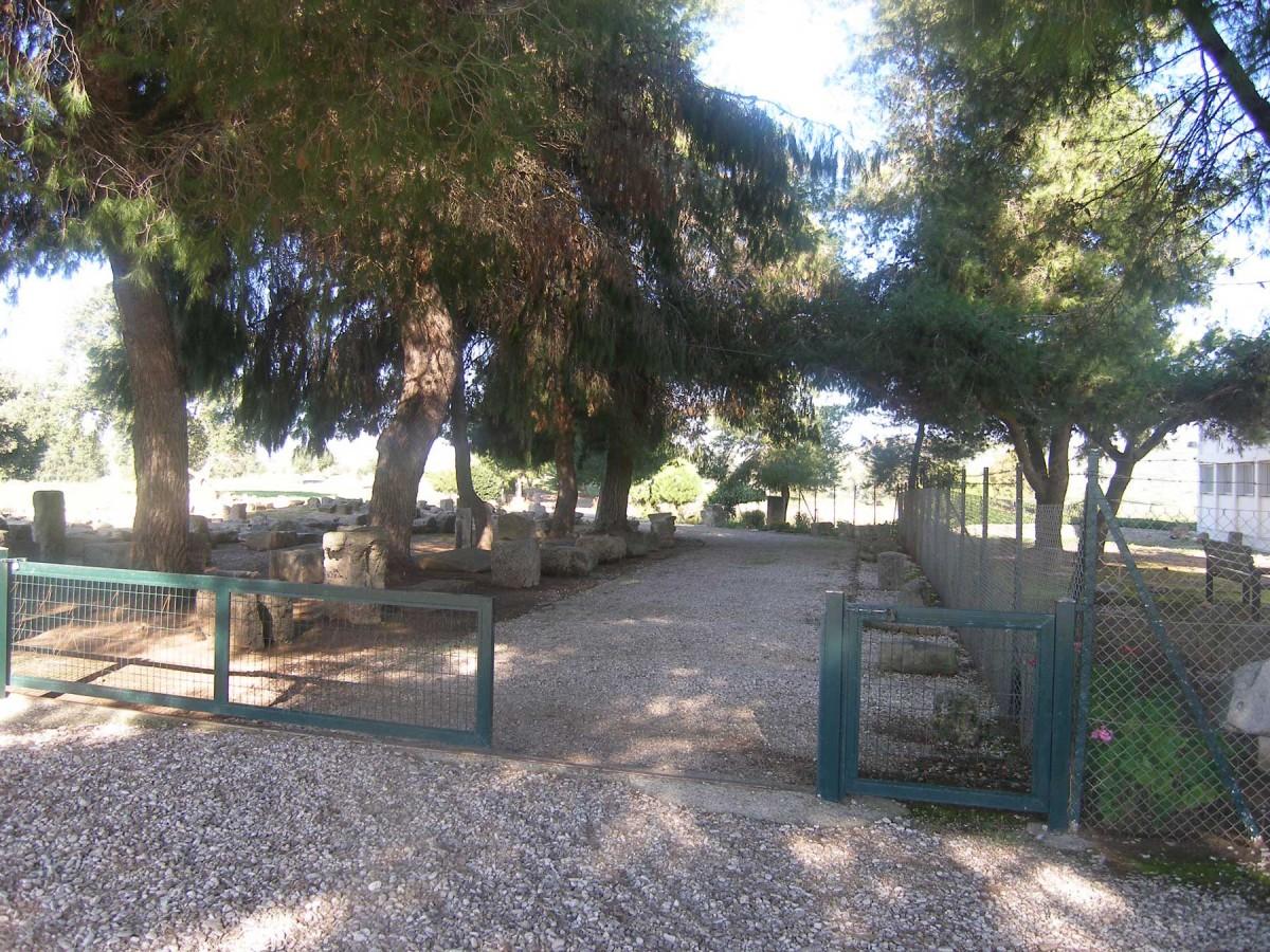 Εικ. 8. Η είσοδος στον αρχαιολογικό χώρο δυτικά των κτιρίων- αρχή διαδρόμου επισκεπτών.