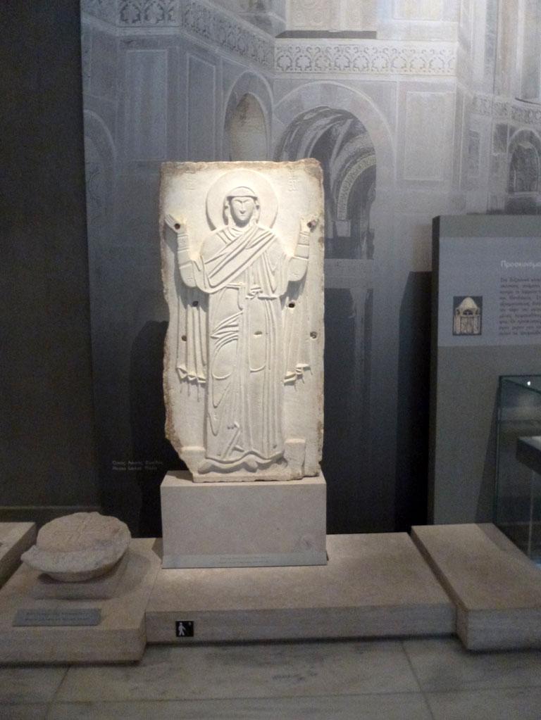 Μαρμάρινη εικόνα Παναγίας δεομένης, 11ος αι., Θεσσαλονίκη. Μουσείο Βυζαντινού Πολιτισμού.