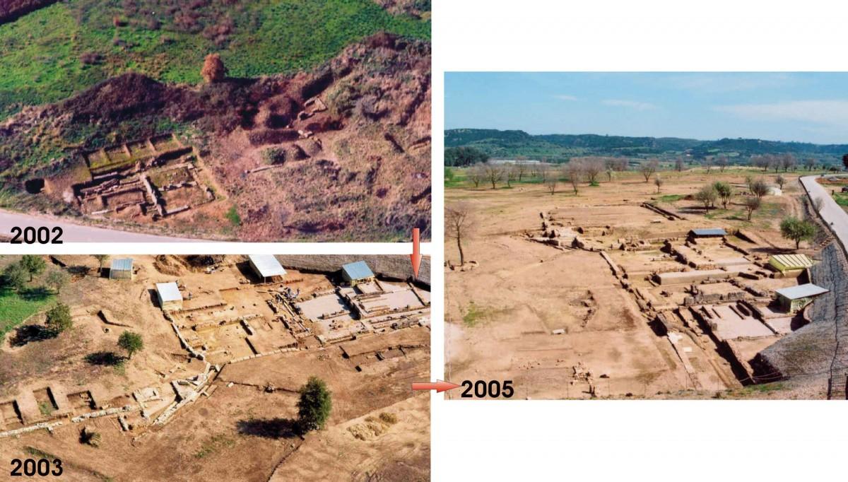 Εικ. 2. Εξέλιξη εργασιών ανάδειξης των μνημείων του χώρου 2003-2005. Νοτιοδυτικό άκρο Αγοράς (πηγή: ΥΠΠΟ-ΤΔΠΕΑΕ Ήλιδα 2006).
