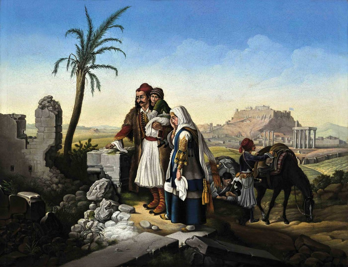 Αθηναϊκή οικογένεια επιστρέφει στο κατεστραμμένο σπίτι της, Peter Von Hess. Eλαιογραφία σε μουσαμά.