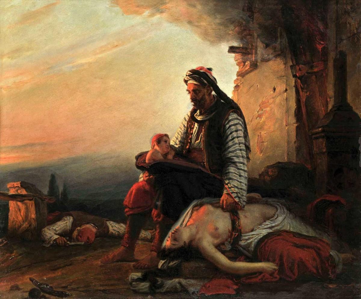 Θέμα εμπνευσμένο από τη σφαγή της Σαμοθράκης, Jean-Baptiste Vinchon. Eλαιογραφία σε μουσαμά.