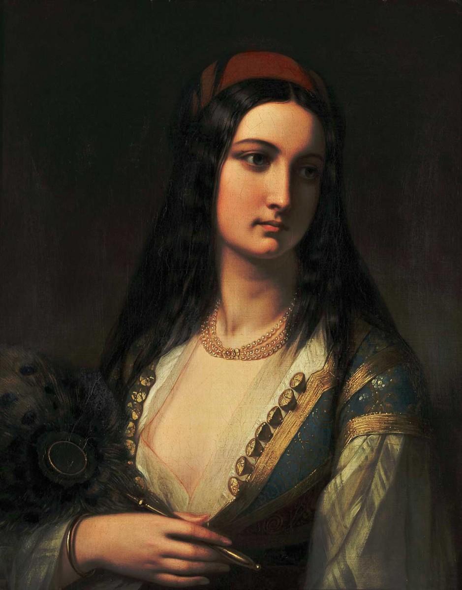 Ελληνίδα με βεντάλια, Γαλλική Σχολή. Ελαιογραφία σε μουσαμά, μέσα 19ου αιώνα.