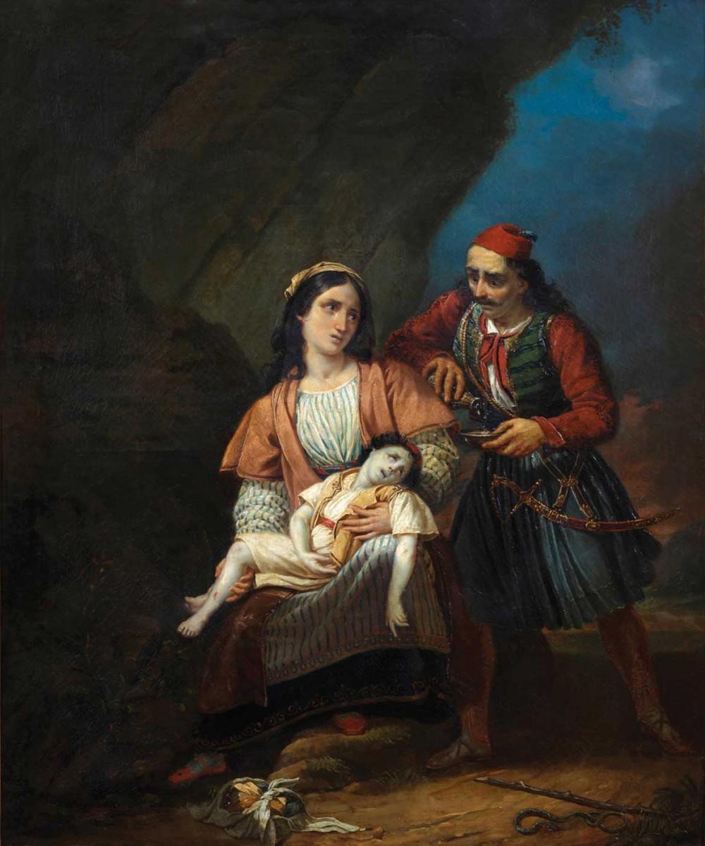 Ελληνίδα μάνα με το νεκρό παιδί της, Γαλλική Σχολή. Ελαιογραφία σε μουσαμά, α΄ μισό 19ου αιώνα.