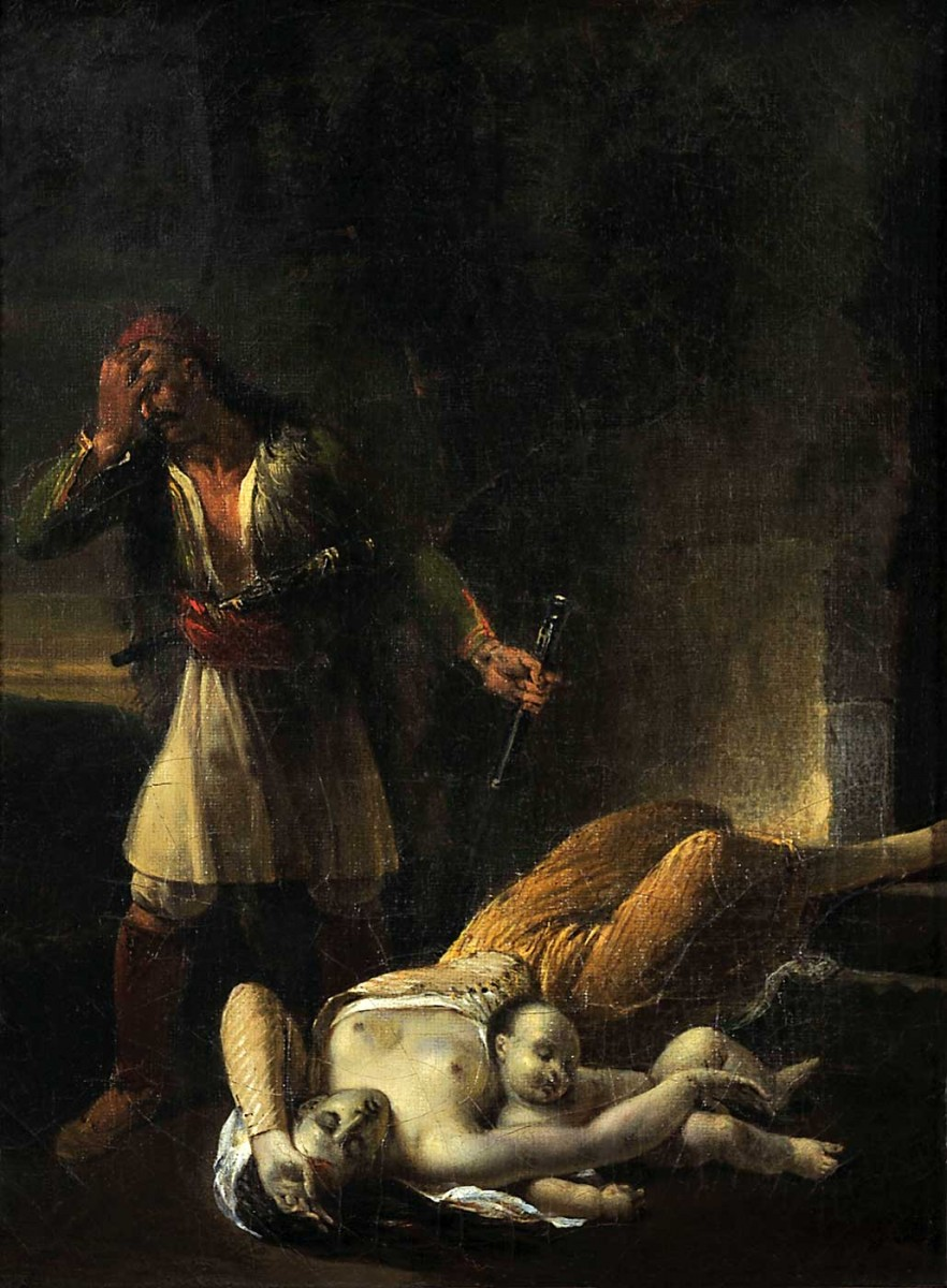 Έλληνας αγωνιστής θρηνεί τη νεκρή γυναίκα και το παιδί του, Γαλλική Σχολή. Ελαιογραφία σε μουσαμά, γύρω στο 1830.