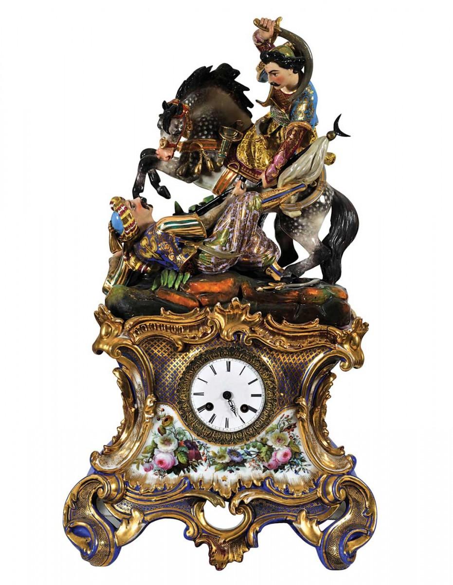 Η μονομαχία του Γκιαούρ και του πασά. Επιτραπέζιο ρολόι από πολύχρωμη πορσελάνη, 1830-40.