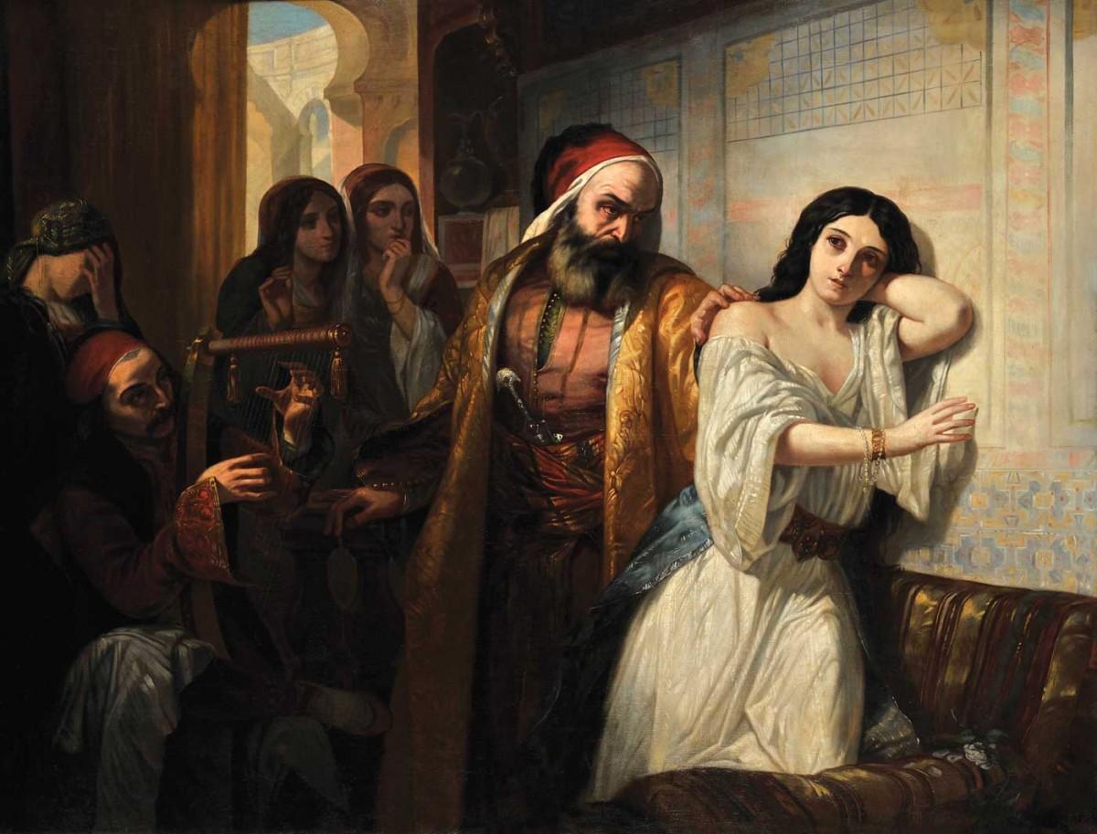 Ελληνίδες σε σκλαβοπάζαρο, S. Η. Benoit Darondeau. Eλαιογραφία σε μουσαμά.