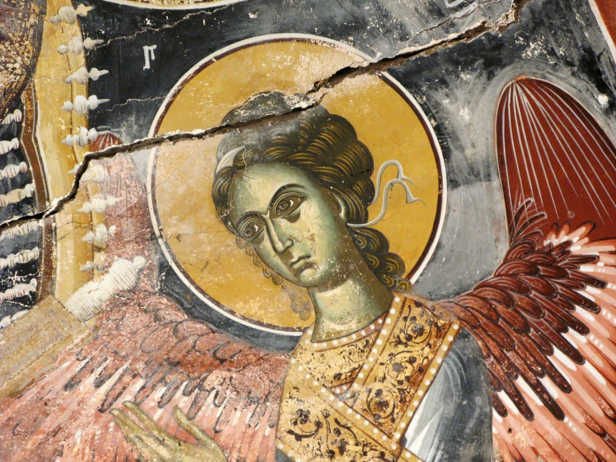 Άγγελος από το ιερό στο ναό του Αγίου Δημητρίου της Σφηκιάς Ημαθίας, 15ος αι. (φωτ. Εφορεία Αρχαιοτήτων Ημαθίας).