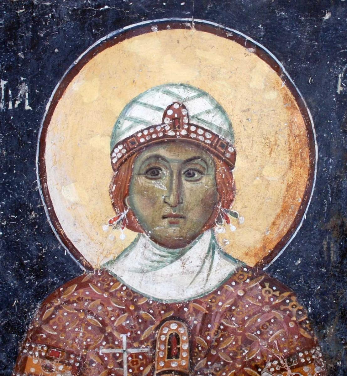 Η Αγία Βαρβάρα. Τοιχογραφία του α' μισού του 13ου αιώνα στην παλιά Μητρόπολη της Βέροιας (φωτ. Εφορεία Αρχαιοτήτων Ημαθίας).