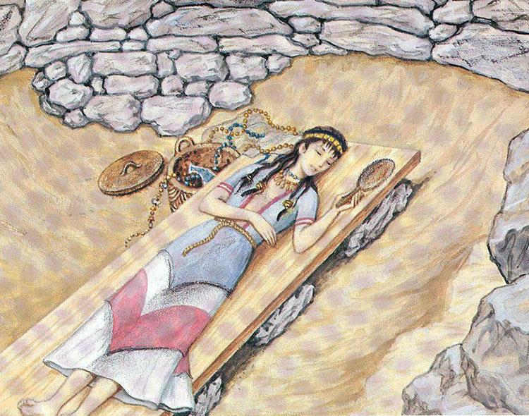 Εικ. 3. Ζωγραφική αναπαράσταση της γυναικείας ταφής του θολωτού τάφου Δ των Αρχανών (Πηγή: Σακελλαράκης Γ. και Σακελλαράκη Ε., Αρχάνες 1994, 129α, Εκδοτική Αθηνών).