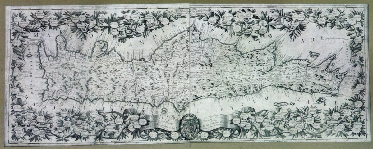 Vincenzo Maria Coronelli, «Το νησί και το βασίλειο του Χάνδακα». Βενετία 1692. Χαλκογραφία 0,45x1,20 μ. Ναυτικό Μουσείο της Ελλάδος (Αρ. Συλλογής ΝΜΕ Χ/Ν/504/001).